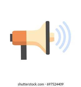 Megaphone Icon Loudspeaker Sound Concept Flat Vector Illustration