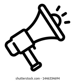Megaphone icon. Outline megaphone vector icon for web design isolated on white background