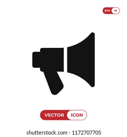 Megaphone icon vector illustration. Announcement symbol. Loudspeaker pictogram, flat vector sign isolated on white background. Simple vector illustration for graphic and web design.