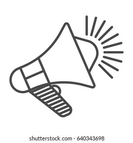 Megaphone icon vector illustration isolated on white background. Global social media, promo announcement, mass media linear pictogram.