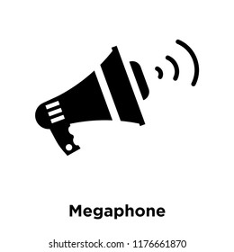 Megaphone icon vector isolated on white background, logo concept of Megaphone sign on transparent background, filled black symbol
