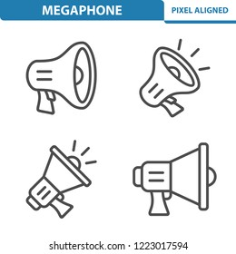 Megaphone Icons. Professional, pixel perfect icons, EPS 10 format.