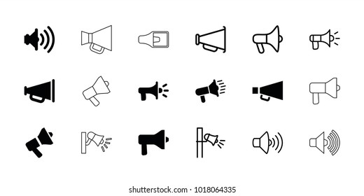 Megaphone icons. set of 18 editable filled and outline megaphone icons: megaphone