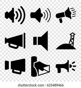 Megaphone icons set. set of 9 megaphone filled icons such as volume, megaphone