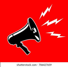 Megaphone isolated black on red background vector Illustration