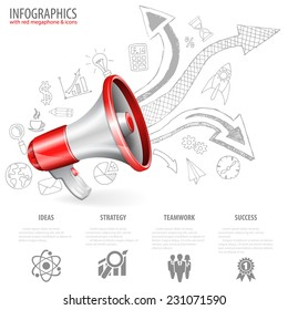 Megaphone isolated on white background with Arrows and Business Hand Drawn Icons. You can change the color in one click. Vector illustration.