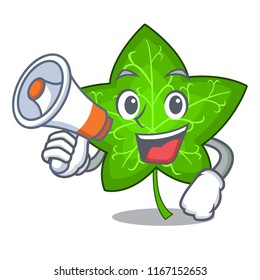With megaphone ivy leaf isolated on character cartoon