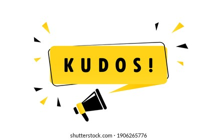 Megaphone with Kudos speech bubble banner. Loudspeaker. Can be used for business, marketing and advertising. Vector EPS 10. Isolated on white background.