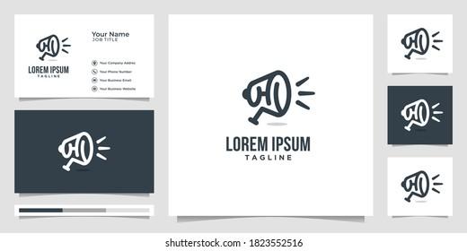 Megaphone line art design vector, element for logo, emblem, announcement, unique elegant design concept. logo and business card.premium vector