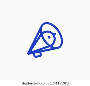 Megaphone line icon with bird head sign inside it, outline vector symbol.