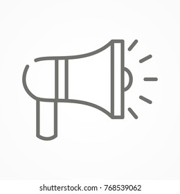 Megaphone line icon. Megaphone sign icon. Loudspeaker symbol. Pictogram megaphone. Megaphone icon logo, symbol, sign. Megafone icon outline style. Vector illustration. EPS 10