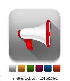 megaphone With long shadow over app button