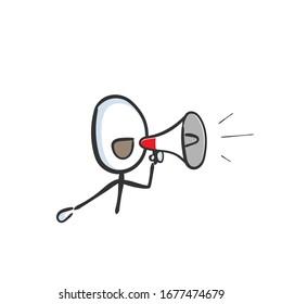 Megaphone loud speaker announcement. bullhorn shout out. loud-hailer message. Hand drawn. Stickman cartoon. Doodle sketch, Vector graphic illustration