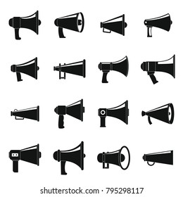 Megaphone loud speaker icons set. Simple illustration of 16 megaphone loud speaker alcohol logo vector icons for web