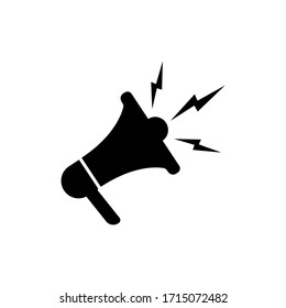 Megaphone or loudspeaker icon in black color isolated on white background. vector EPS 10.