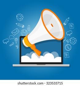 megaphone loudspeaker marketing promotion announcement communication shout online laptop cloud