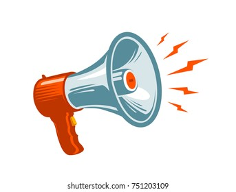 Megaphone, loudspeaker, mouthpiece symbol or icon. News, notice, notify, advertising, promotion concept. Vector illustration