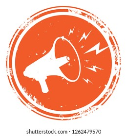 Megaphone or Loudspeaker orange noisy with lightning rubber stamp icon isolated on white background. Symbol of news, media, promotion, broadcasting, marketing and etc. Vector illustration