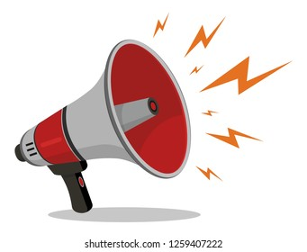 Megaphone or Loudspeaker red flat style noisy with lightning icon isolated on white background. Symbol of news, social media, promotion, broadcasting, marketing and etc. Vector illustration
