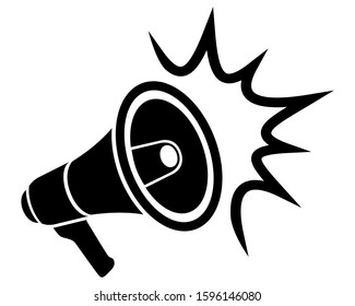 megaphone loudspeaker for sound message black icon stock vector illustration isolated on white background