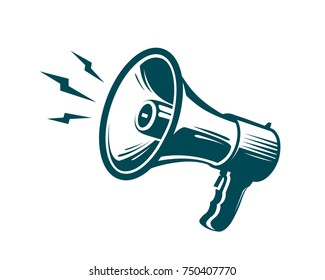 Megaphone, loudspeaker symbol. Advertising, marketing, news concept. Vector illustration