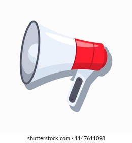 Megaphone, loudspeaker vector cartoon flat icon isolated on white background.