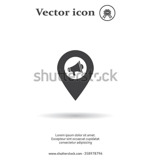 megaphone in the map mark