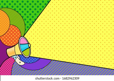 MEGAPHONE Modern colourful pop art graphic background for your design and text . Vector artistic illustration in pop-art comic style. Communication message concept.