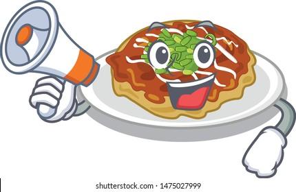 With megaphone okonomiyaki is cooked in cartoon pan