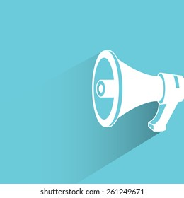 megaphone on blue background, flat and shadow theme