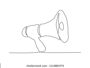 Megaphone. One line drawing.