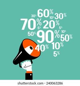 Megaphone with percent discounts. Flat modern design