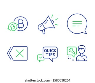 Megaphone, Quick tips and Refresh bitcoin line icons set. Text message, Remove and Repairman signs. Brand advertisement, Helpful tricks, Update cryptocurrency. Chat bubble. Technology set. Vector