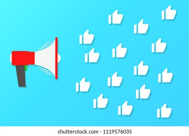 Megaphone red color and likes social media YouTube. Hand likes and Megafon. Vector illustration. EPS 10
