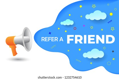 megaphone with refer a friend word vector illustration concept, can use for, landing page, template, ui, web, mobile app, poster, banner, flyer, background