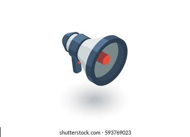 megaphone, speaker, broadcast, share isometric flat icon. 3d vector colorful illustration. Pictogram isolated on white background