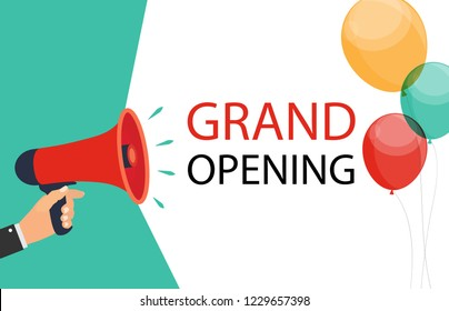Megaphone with speech bubble and balloons. Grand opening concept. Vector Illustration. EPS10