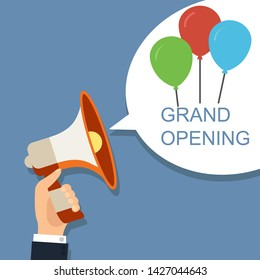 Megaphone with speech bubble and balloons. Grand opening concept design