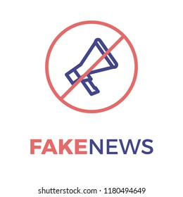 Megaphone spreading fake news in a red circle with left slash. Vector thin line icon illustration for concepts of false information, misleading information, manipulation and misinformation