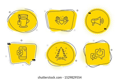 Megaphone, Tea and Like signs. Chat bubbles. Medical phone, Christmas tree and Hold heart line icons set. Mobile medicine, Spruce, Friendship. Advertisement. Business set. Vector