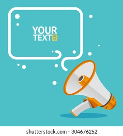 Megaphone text bubble card with place for your design. Flat. Vector illustration