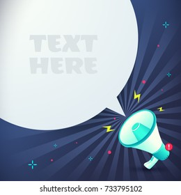 Megaphone text bubble with place for your text, Blank speech bubble announced by megaphone, Empty bubble for advertising, Loudspeaker, Warning, Announce, Vector illustration.