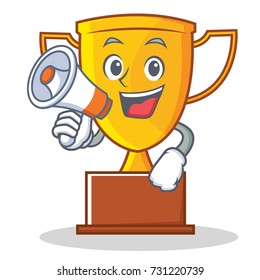 With megaphone trophy character cartoon style