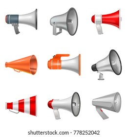 Megaphone vector bullhorn loudspeaker or announce and loud voice in speaker or announcement in horn illustration isolated on white background