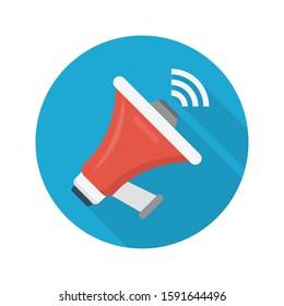 megaphone vector flat color icon