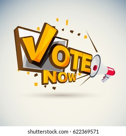 "Megaphone with ""Vote"" Vote today concept Typographic - vector illustration"
