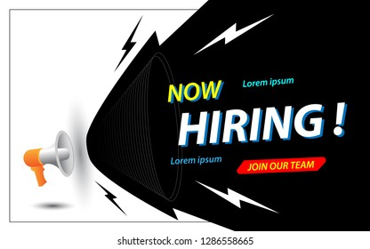 megaphone with we are hiring word vector illustration concept, can use for, landing page, template, ui, web, mobile app, poster, banner, flyer, background