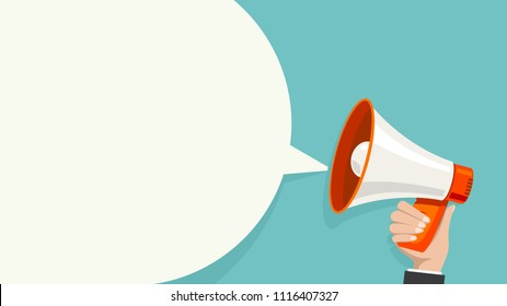 Megaphone white bubble for social media marketing concept. Vector announce for marketing.