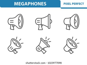 Megaphones Icons. Professional, pixel perfect icons optimized for both large and small resolutions. EPS 8 format. 3x size for preview.