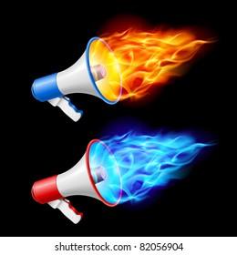 Megaphones in red and blue flame. Illustration on black background